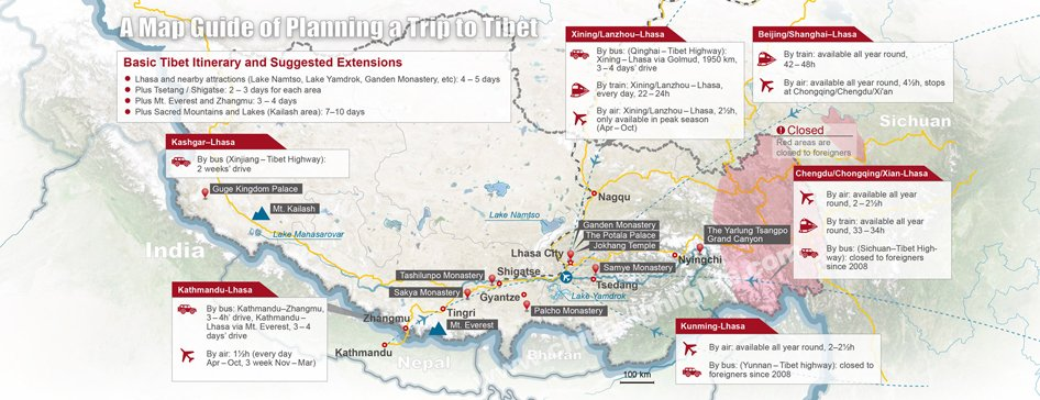 tibet map for planning tour