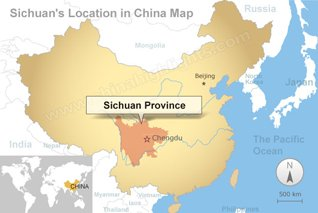Sichuan location in China map