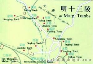 明の十三陵の地図